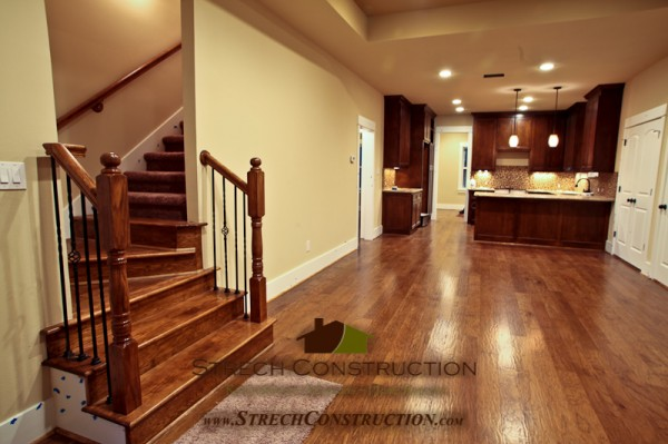 Custom flooring and stairs in a New Home Build in Heights Houston Tx.
